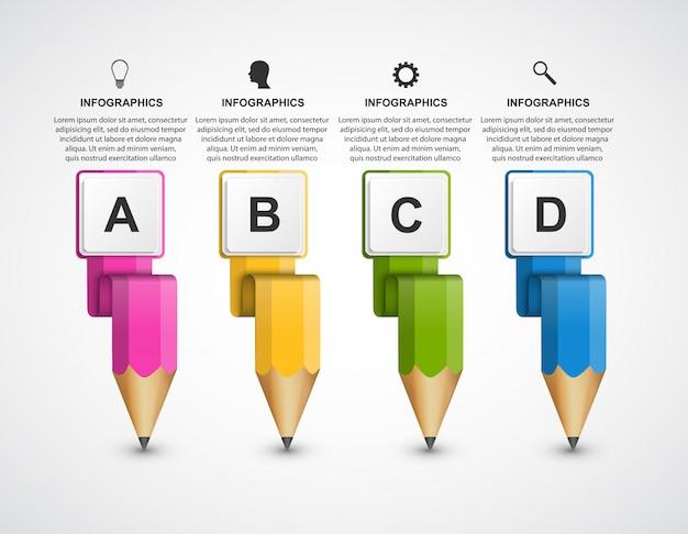 Modelo de infográficos educacionais com lápis colorido.