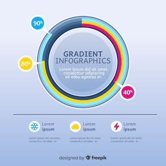 Modelo de infográficos gradiente colorido