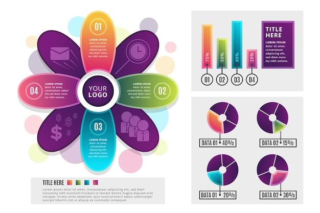 Modelo de infográficos gradiente