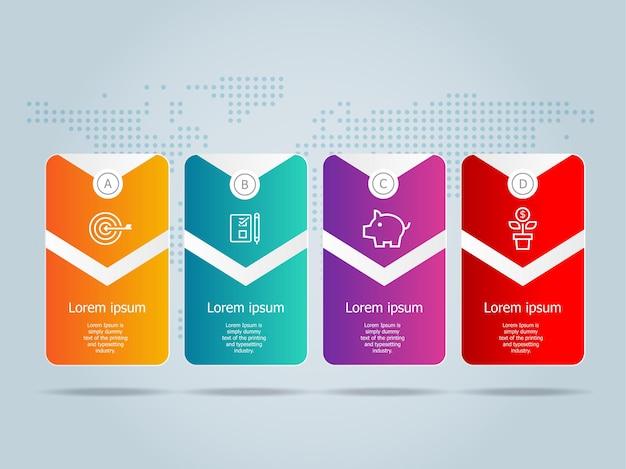 Modelo de infográficos horizontais de negócios disign com ícones 4 etapas ou opção, elemento de design plano