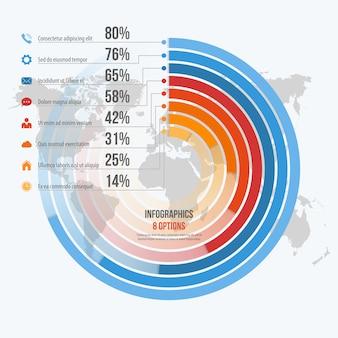 Modelo de infográficos informativos do círculo