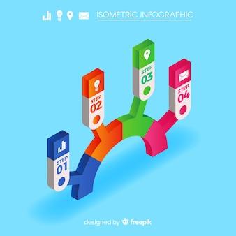 Modelo de infográficos isométrico colorido