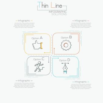Modelo de infográficos mínimos de linha fina para 4 opções