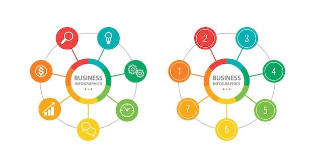 Modelo de infográficos para elementos de infográfico de negócios com círculos de 7 etapas