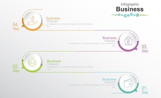 Modelo de infográficos passo a passo 4 opções de etapas ou níveis de conceito de infográficos