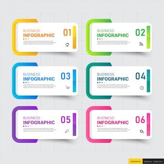Modelo de infográficos seis opções