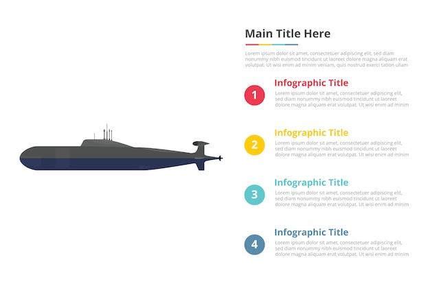 Modelo de infográficos submarino com quatro pontos