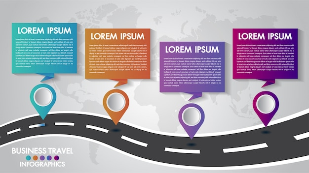 Modelo de infográficos timeline 4 opções de design com uma maneira de estrada e ponteiros de navegação