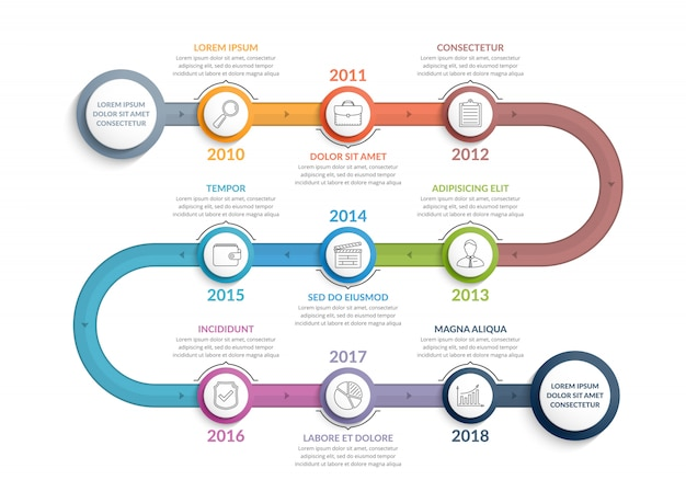 Modelo de infográficos timeline colorido