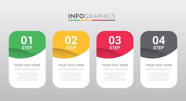 Modelo de informação-gráfico para negócios com design de 4 etapas.
