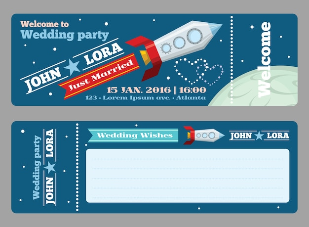 Modelo de ingressos para convites de casamento. saudação em branco, lançamento de foguete, data de celebração, ilustração vetorial