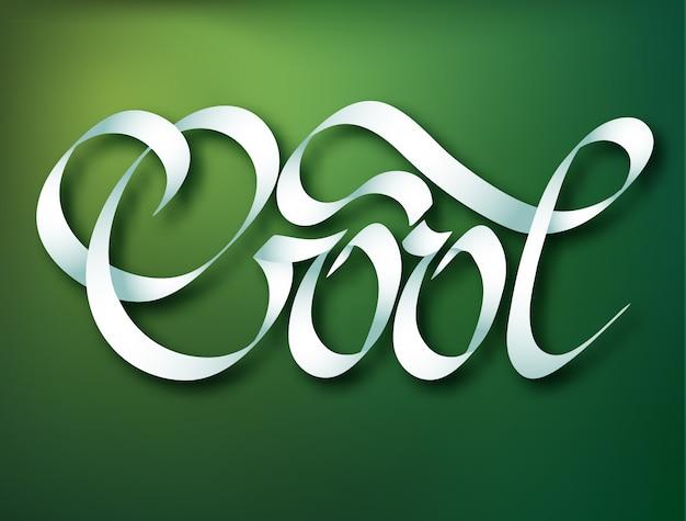 Modelo de inscrição caligráfica com elegante, bonito e elegante palavra cool da fita na ilustração verde
