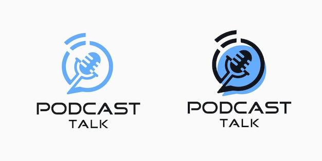Modelo de inspiração de design de ícone de logotipo de conversa de podcast