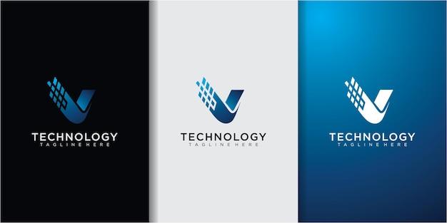 Modelo de inspiração de design de logotipo de letra v de monograma criativo para empresas de consultoria, iniciais e financeiras