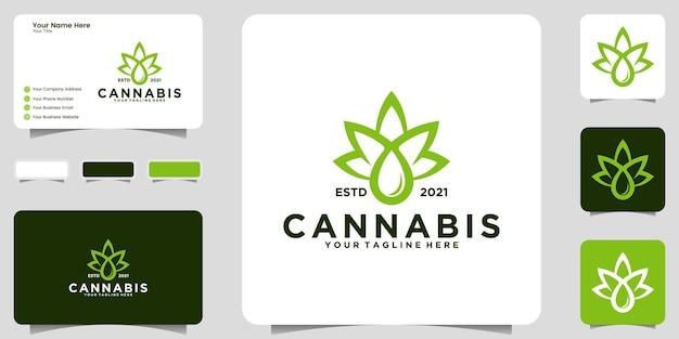 Modelo de inspiração do logotipo vintage de folha de cannabis e design de cartão de visita