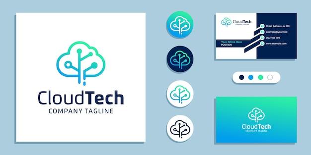 Modelo de inspiração para logotipo de tecnologia de dados em nuvem e design de cartão de visita