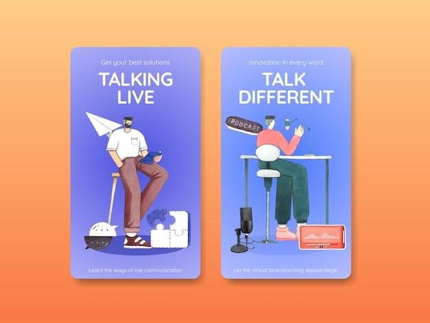 Modelo de instagram com conceito de conversa ao vivo