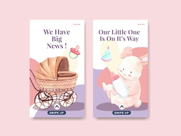 Modelo de instagram com conceito de design do chuveiro de bebê para ilustração vetorial aquarela de mídia social.