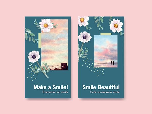 Modelo de instagram com design de buquê de flores para o conceito do dia mundial do sorriso para mídias sociais e ilustração vetorial aquarela da comunidade.