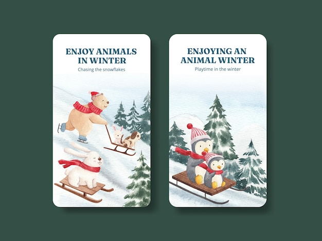 Modelo de instagram de animais de inverno