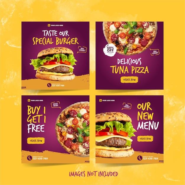 Modelo de instagram de hambúrguer e pizza para publicidade em mídia social de alimentos