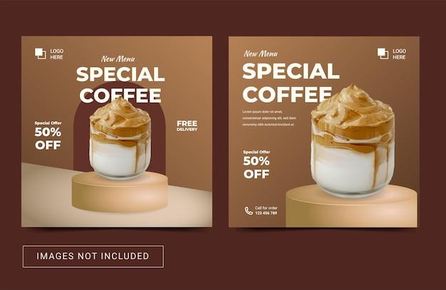 Modelo de instagram de mídia social para menu de cafeteria folheto de promoção de banner