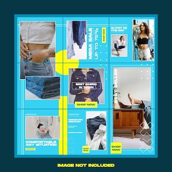 Modelo de instagram de quebra-cabeça de moda de calça de rua social