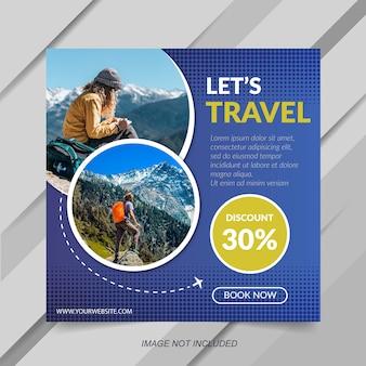 Modelo de instagram de venda de viagem moderna azul