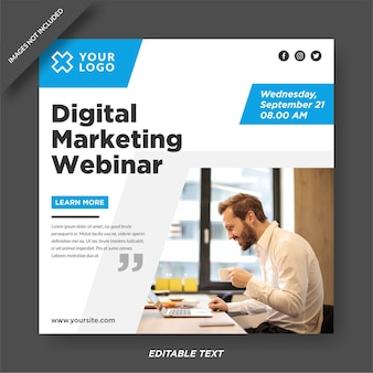 Modelo de instagram de webinar de marketing digital