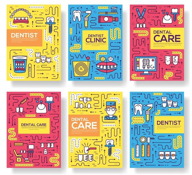 Modelo de instrumentos dent de flyear, revistas, cartaz, livro, banners. delinear o convite médico.