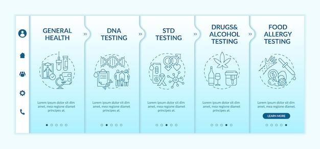 Modelo de integração das principais categorias de testes de laboratório. drogas, teste de álcool. verificação de alergia alimentar. site móvel responsivo com ícones. telas de passo a passo da página da web. conceito de cor rgb