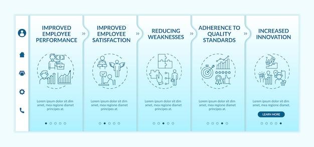 Modelo de integração de benefícios de treinamento e desenvolvimento de funcionários. satisfação do trabalhador. padrões de qualidade. site móvel responsivo com ícones. telas de passo a passo da página da web.