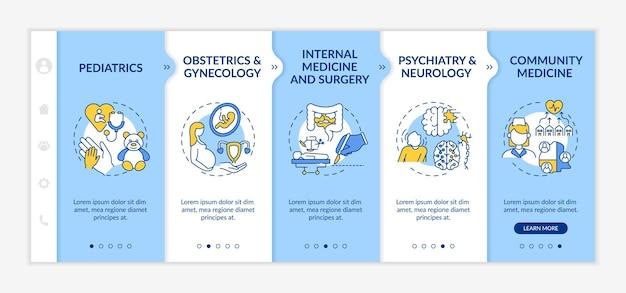 Modelo de integração de componentes de medicina familiar. site móvel responsivo com ícones