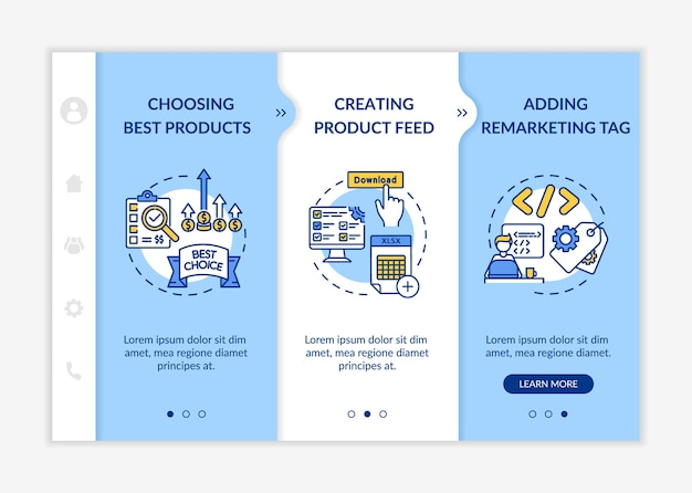 Modelo de integração de construção de marca. melhor seleção de produtos, criação de feed de produtos, tag de remarketing. site móvel responsivo com ícones.