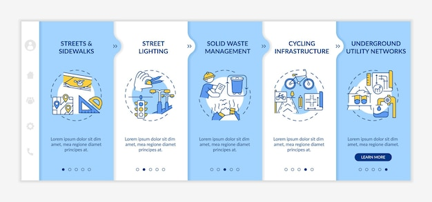 Modelo de integração de construção urbana. reciclagem de lixo, plano de infraestrutura. iluminação pública. site móvel responsivo com ícones. telas de passo a passo da página da web. conceito de cor