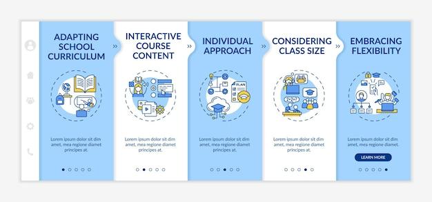 Modelo de integração de dicas de ensino online. adaptando o currículo escolar e o conteúdo do curso interativo. site móvel responsivo com ícones. telas de passo a passo da página da web. conceito de cor rgb