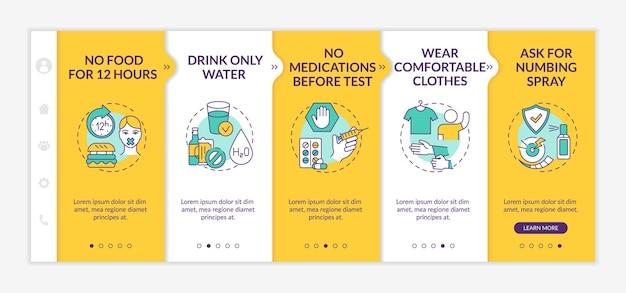 Modelo de integração de dicas de teste de sangue clínico. sem comida por 12 horas. roupas confortaveis. site móvel responsivo com ícones. telas de passo a passo da página da web. conceito de cor rgb