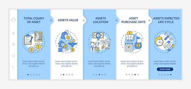 Modelo de integração de elementos de inventário de investimento. valor dos ativos e data de compra. ciclo de vida esperado. site móvel responsivo com ícones. telas de passo a passo da página da web.