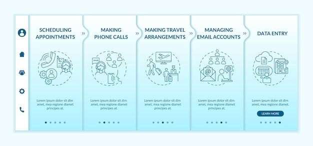 Modelo de integração de gerenciamento administrativo. trabalho profissional va. assistente pessoal. site móvel responsivo com ícones. telas de passo a passo da página da web. conceito de cor