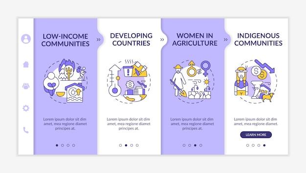 Modelo de integração de grupos de risco de pobreza climática. problemas ecológicos. site móvel responsivo com ícones. mulher na agricultura. telas de passo a passo da página da web.