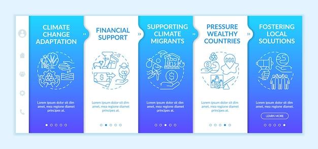 Modelo de integração de grupos de risco de pobreza climática. site móvel responsivo com ícones. justiça e responsabilidade climática. passo a passo da página da web em telas de 4 etapas.