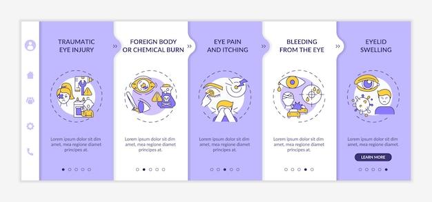 Modelo de integração de motivos de exame oftalmológico de emergência. lesão ocular traumática. corpo estranho ou queimadura química. telas de passo a passo da página da web.