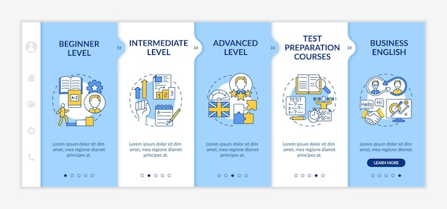 Modelo de integração de níveis de aprendizagem de línguas estrangeiras. principiante. nível avançado. cursos preparatórios para testes. site móvel responsivo com ícones. telas de passo a passo da página da web. conceito de cor rgb