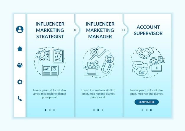 Modelo de integração de ocupação de marketing influenciador