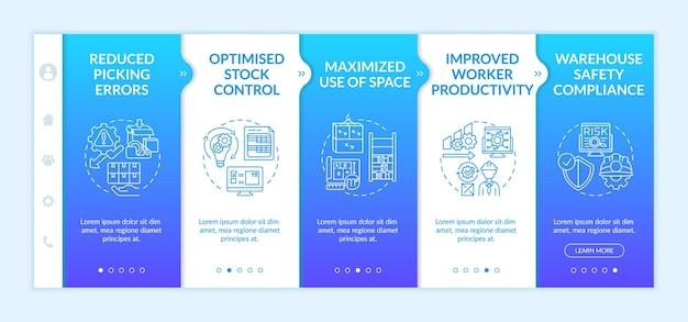 Modelo de integração de otimização de processo de warehouse. uso maximizado do espaço. conformidade de segurança. site móvel responsivo com ícones. telas de passo a passo da página da web. conceito de cor rgb