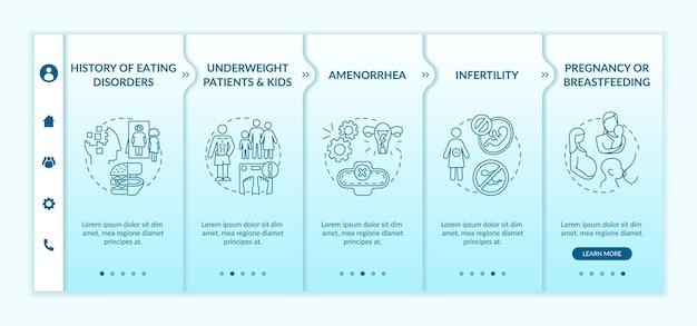 Modelo de integração de precauções de jejum intermitente. pacientes e crianças com baixo peso. telas de passo a passo da página da web.