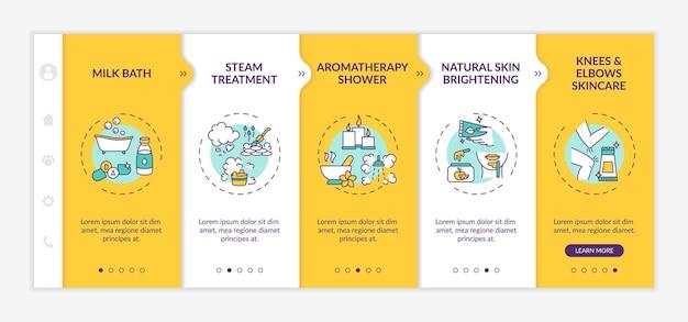 Modelo de integração de rotina de spa em casa. banho de leite. chuveiro de aromaterapia. joelhos para a pele. site móvel responsivo com ícones. telas de passo a passo da página da web. conceito de cor rgb