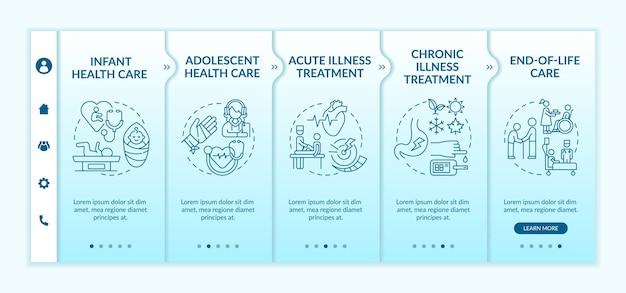 Modelo de integração de suporte médico de família. site móvel responsivo com ícones
