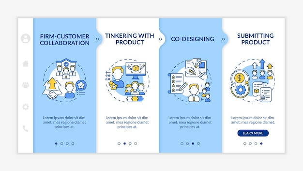 Modelo de integração de tipos de criação colaborativa. colaboração empresa-cliente. co-design. site móvel responsivo com ícones. telas de passo a passo da página da web. conceito de cor rgb