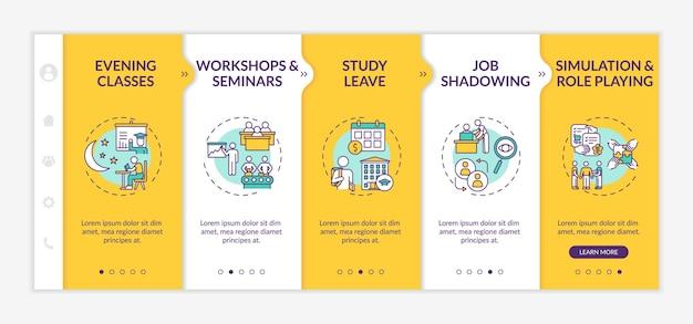 Modelo de integração de tipos de treinamento e desenvolvimento de funcionários. aulas noturnas. sombreamento de trabalho. site móvel responsivo com ícones. telas de passo a passo da página da web.
